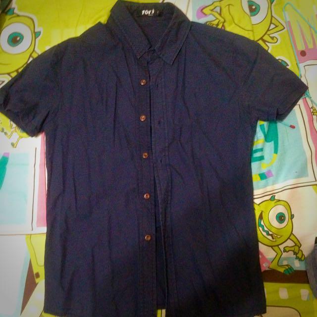 深藍短袖襯衫