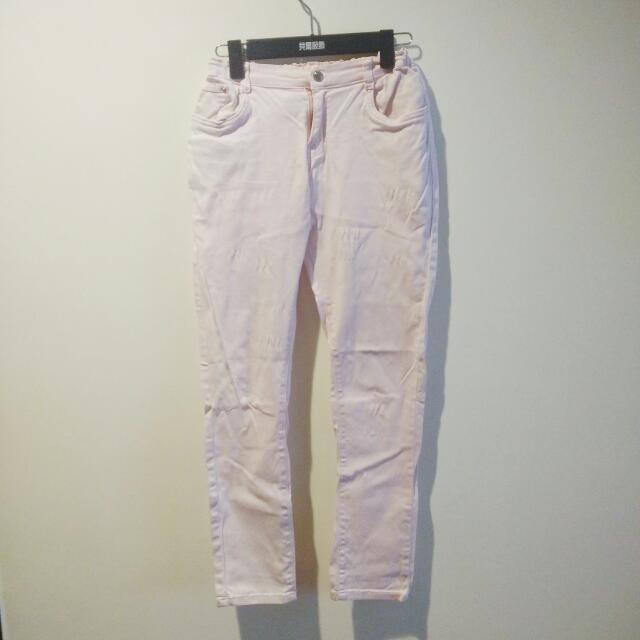 專櫃 淺粉紅褲