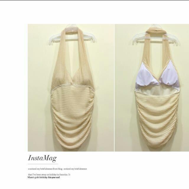 米白色連身泳衣 sizeL