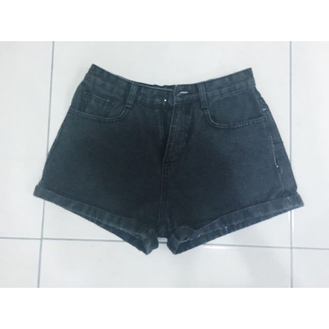 AA 同款 黑色 高腰 反折 短褲