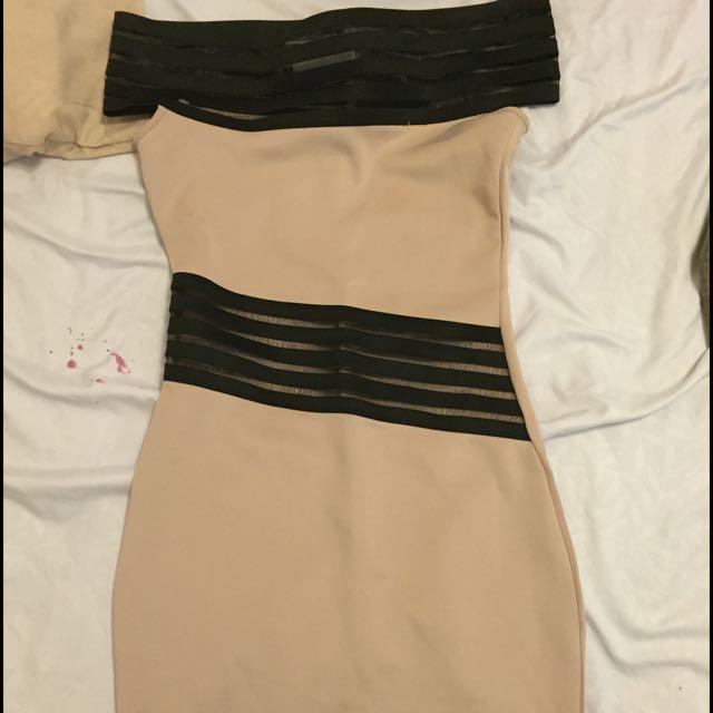 Beige OffTheShoulder Dress- Short