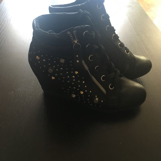 Black Studded Wedges