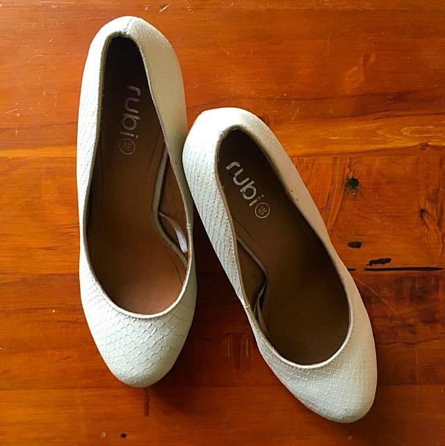 Cream Wedge Heel