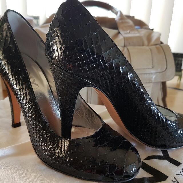 DKNY Patent Snake Embossed Leather