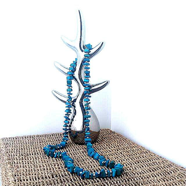 Genuine Stone Necklace W Solver Beads.