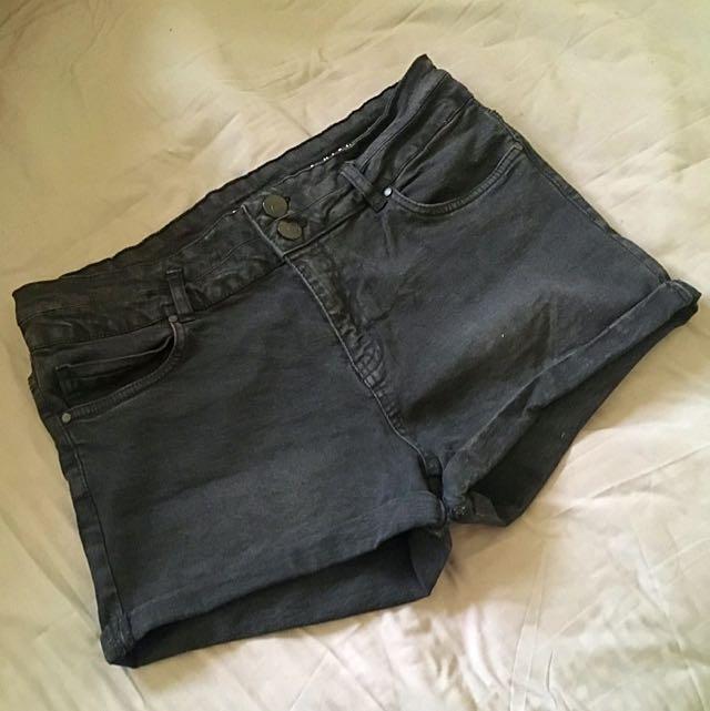 High Waist Washed Black Denim Shorts