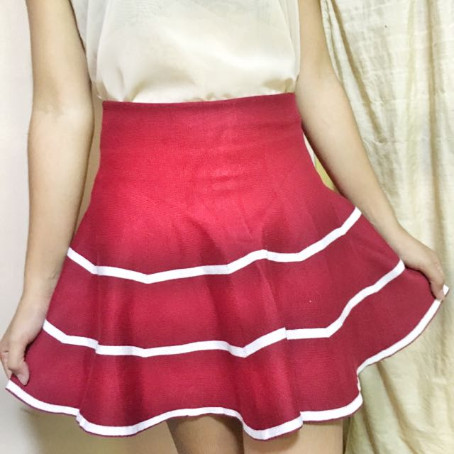 Knitted Skirt Red