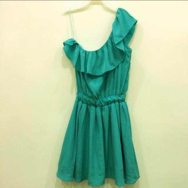 MIX & CHIC (korea)  湖水綠 荷葉滾邊斜肩 洋裝