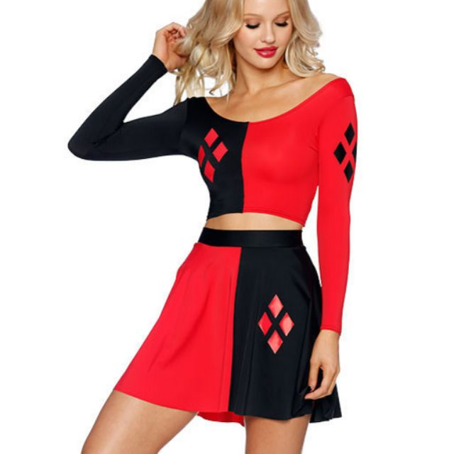 HALLOWEEN NEW-w-Tags- MEDIUM-Harley Quinn Black Milk Long-Sleeve Crop Skirt Set