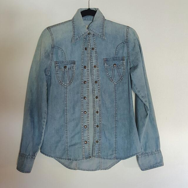 One Teaspoon Denim Long Sleeve Top (Size 8)