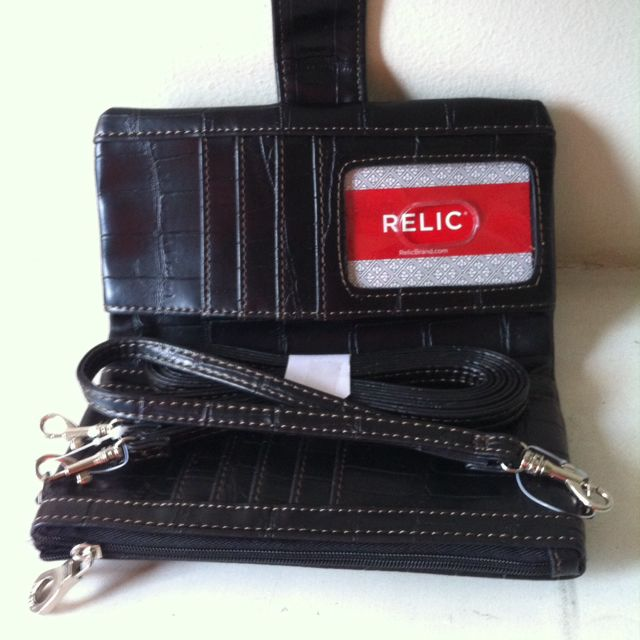 Original Relic Vicky Tab Checkbook Wallet - Black Croco