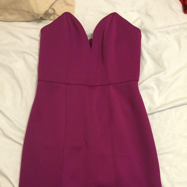 Short Fuschia Dress With Low Cut