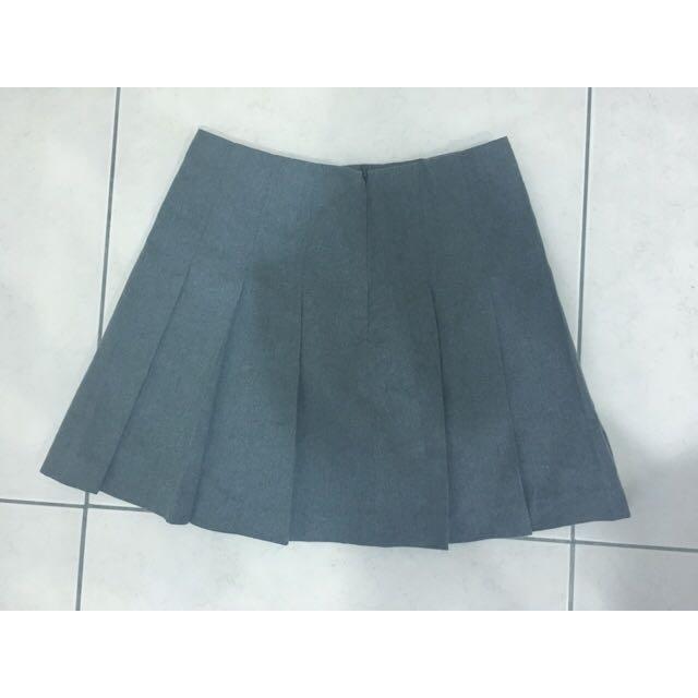 Spao 韓國 灰 百折 百褶 短裙 百折裙