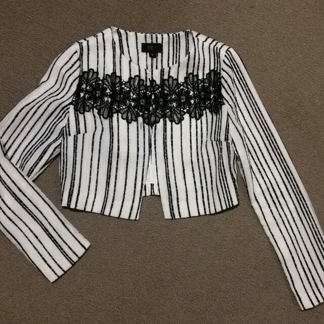 ETC Brand ... Stripe Crop Jacquard Jacket W Lace Trim Front.