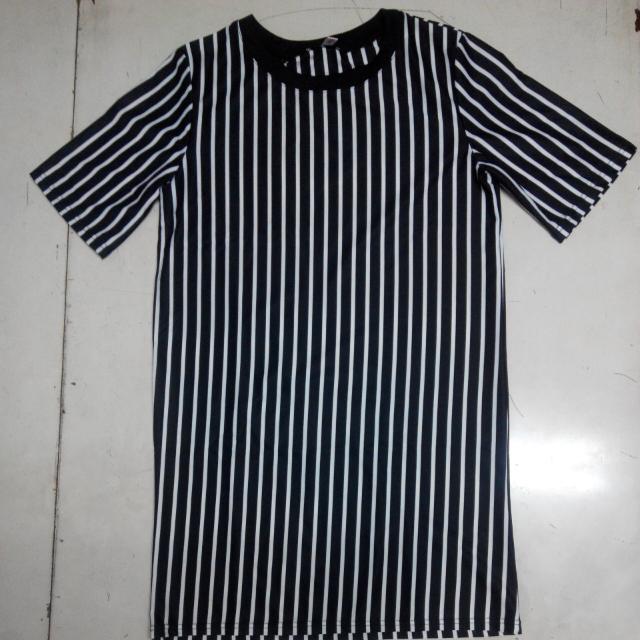 直條紋長版T恤