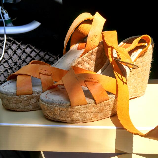 Zara Organge Leather Wedge Sandals