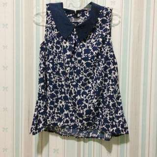 Navy Floral Bow Top
