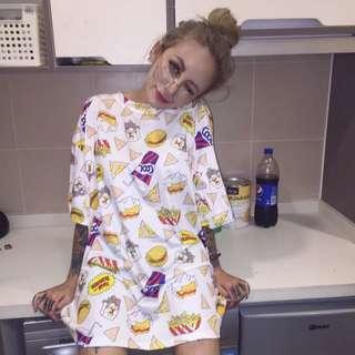 超特別款‼️歐美街頭嘻哈🔫薯條漢堡寬版上衣