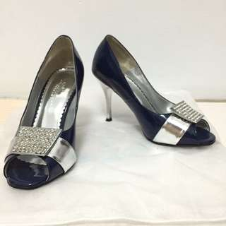 La New 深藍水鑽魚口鞋   22.5號
