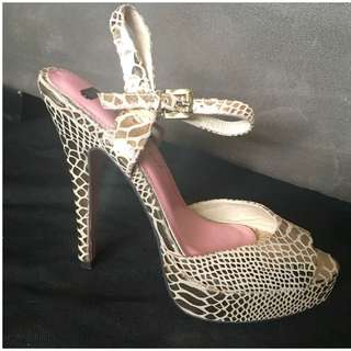 Metallic Snake Skin Print Stiletto