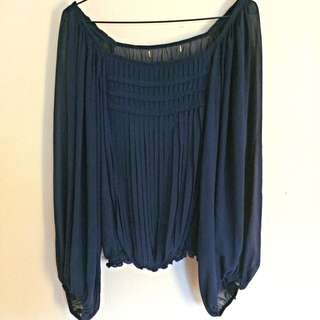 Dark Blue Silk Blouse