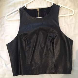 Pleather Ally Crop Top