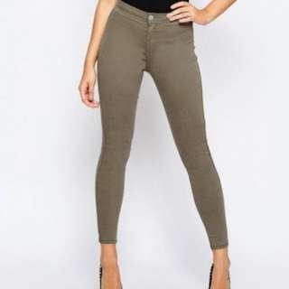 Asos Khaki High Waisted Jeans Size 10 Skinny Tight