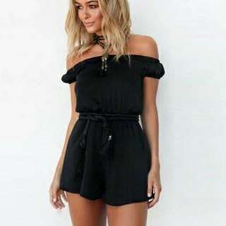 (WIB: WOMEN IN BLACK )Black  Chiffon Jumpsuit Off-Shoulder Design WITH Leather Belt String As Shown.
