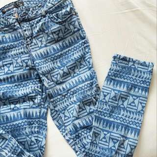 Jay Jays patterned blue skinny jeans Size 14