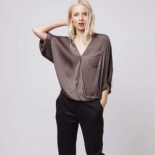 Topshop satin drape sleeve blouse