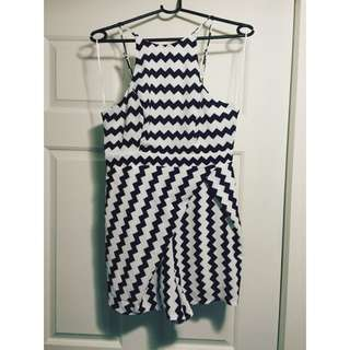 Navy Blue & White Striped Playsuit