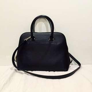 *ZARA* Black Leather Look Handbag With Gold Details