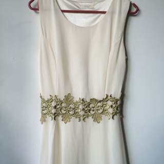 White Mini Dress With Gold Detail