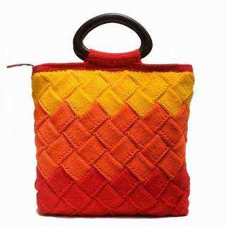 Red Ombre Knit Bag