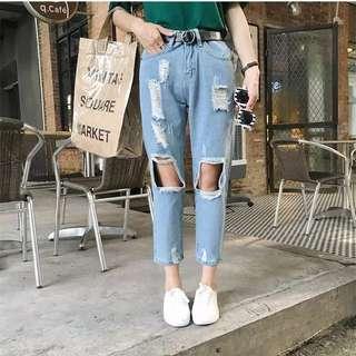 (全新)含運 刷破牛仔褲 Bf風❤️ 破褲 牛仔長褲