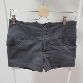 Dark Grey Shorts With Lace-up Back