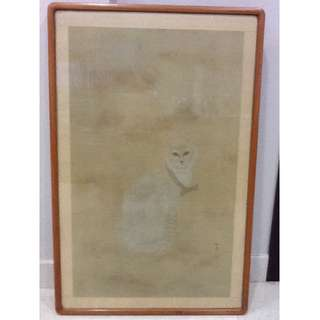 Painting of Sitting Cat (in wooden frame)