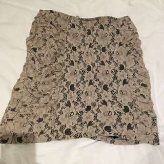 Nude Lace Mini Skirt