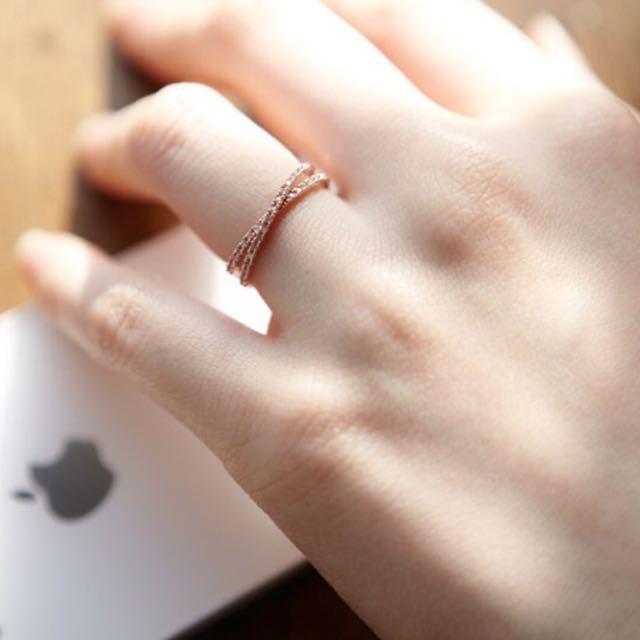 【B2】韓國鍍金水鑽戒指