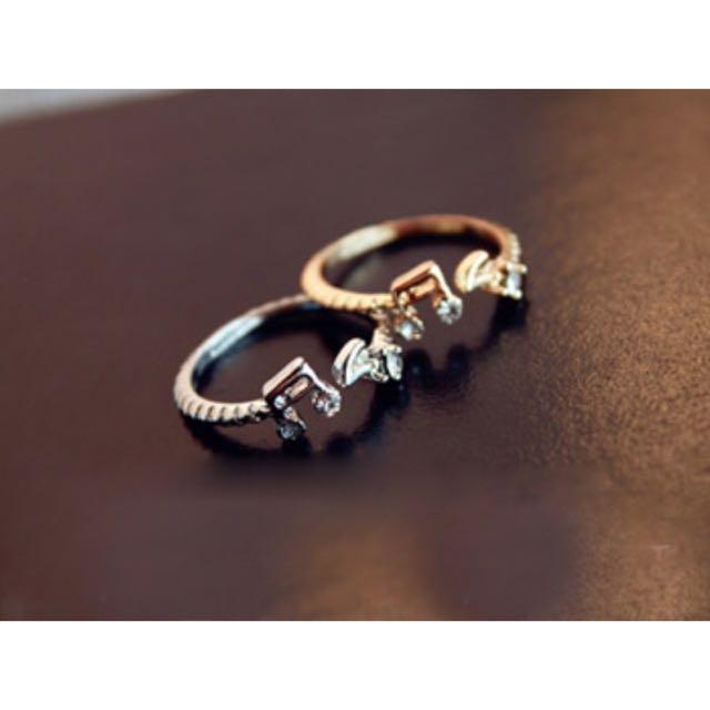 【B1】韓國音符水鑽可調大小戒指