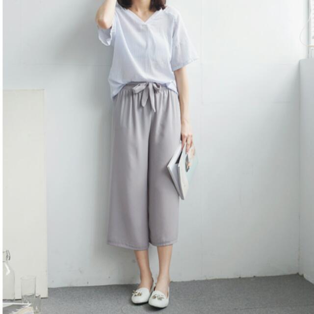 全新 水莎 轉賣 灰色 綁帶 鬆緊 寬褲