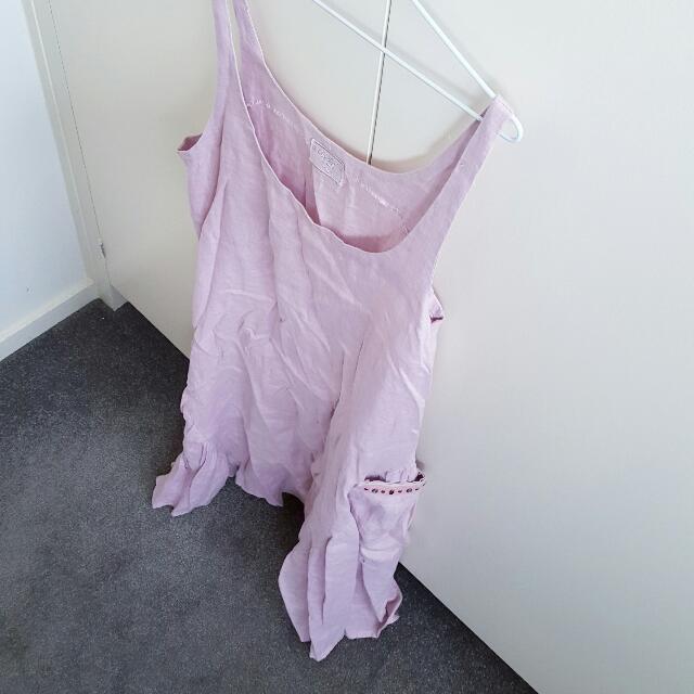 Alessandra 100% linen pastel pink dress Size M