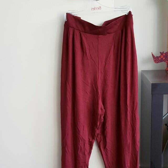 Asos maroon peg trousers/pants Size 12