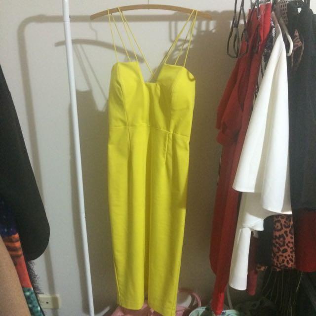 PRICE REDUCED Bardot Chartreuse/acid Midi Dress