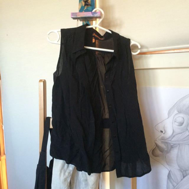 Black Button Up Sleeveless Shirt