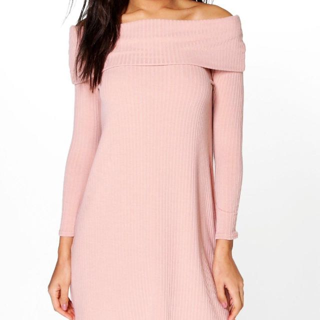 "Boohoo ""Nancy"" Pink Off -Shoulder Dress Sz 8 BNWT"
