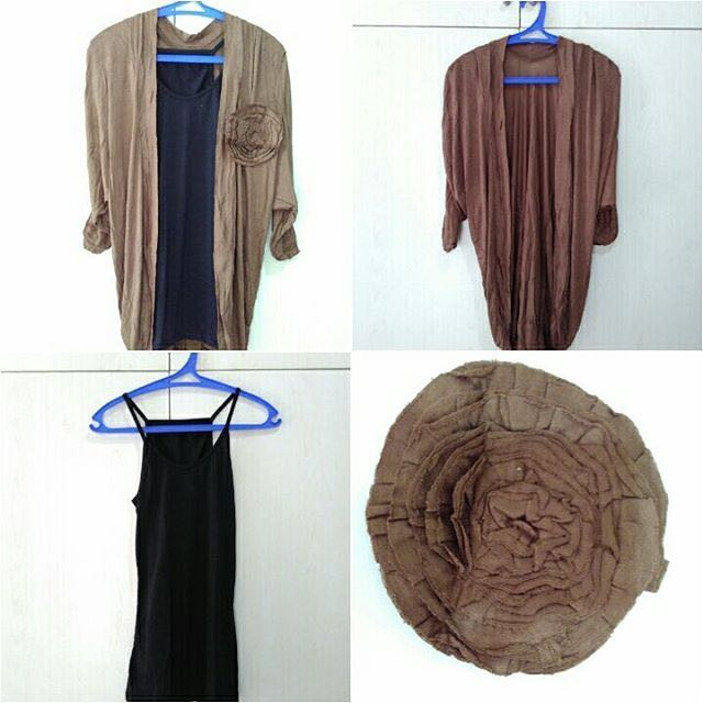 Brown cardigan with black tank top ( 3 pcs : cardi, tanktop, flower )