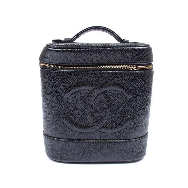 CHANEL 經典雙C圖紋魚子醬化妝手提包(黑)