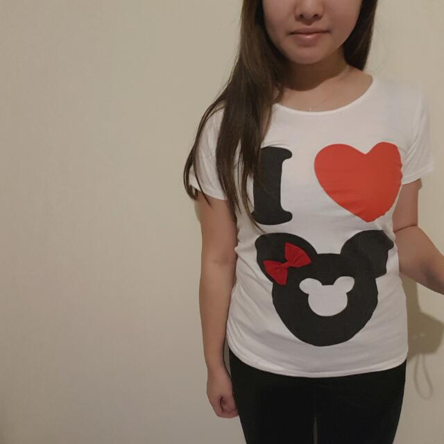 Extra Small I Heart Minnie Mouse Print Top (Unofficial)