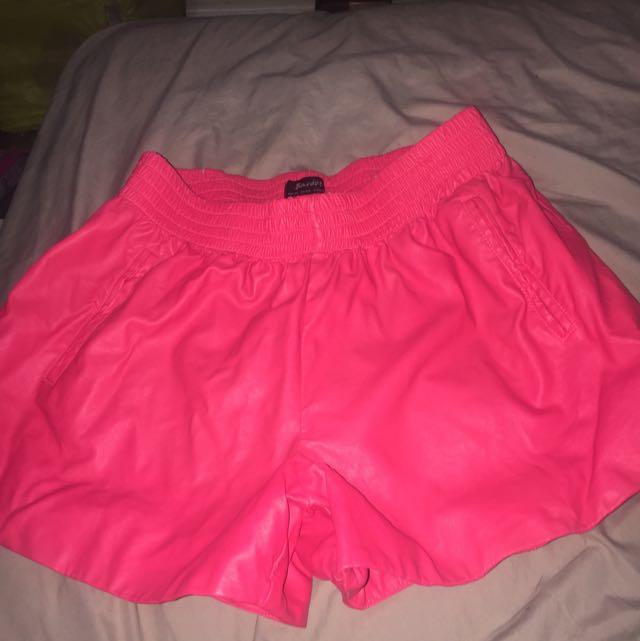 Faux Leather Hot Pink Bardot Shorts